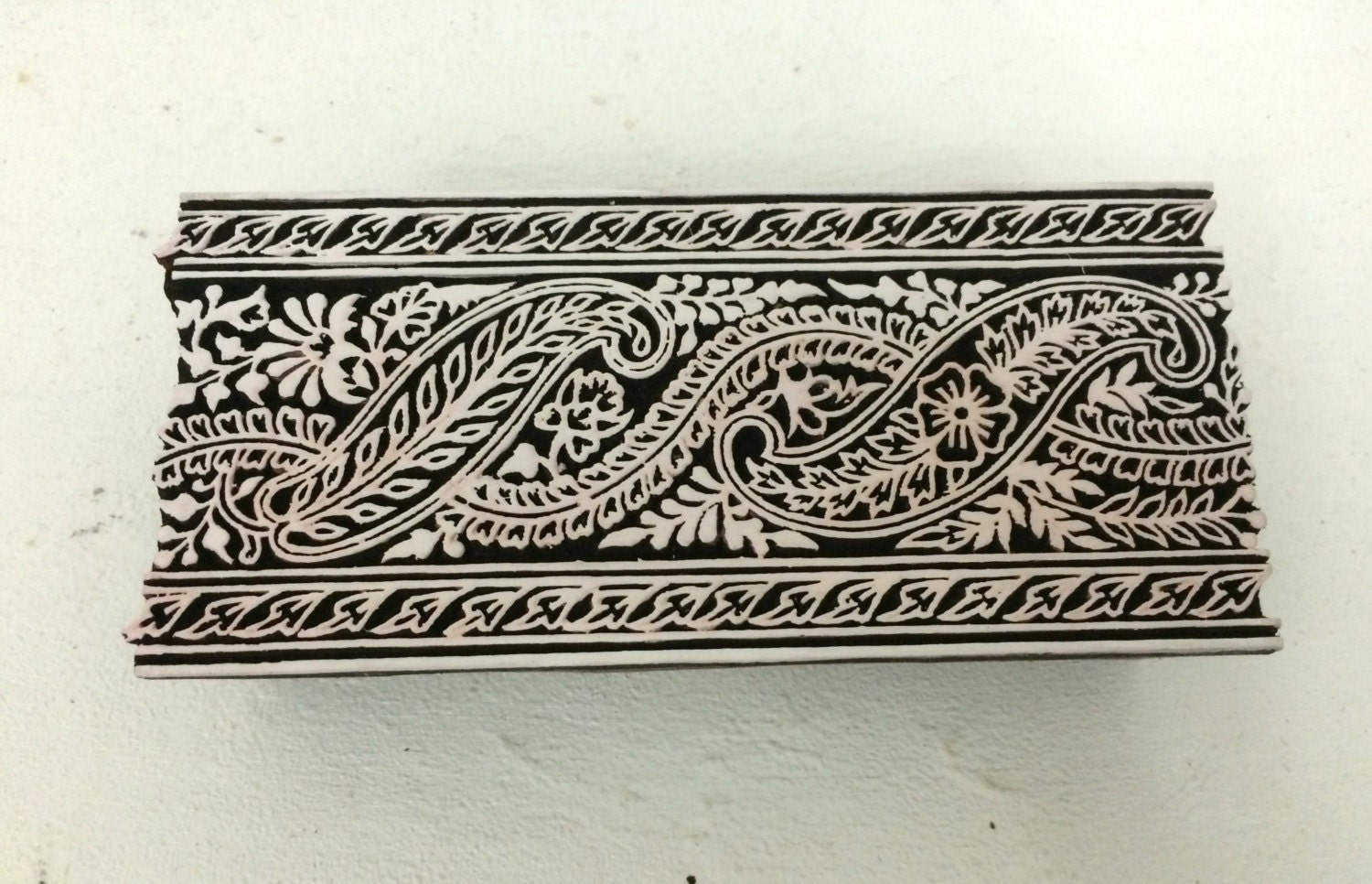 Hand carved indian wood stamp border textile