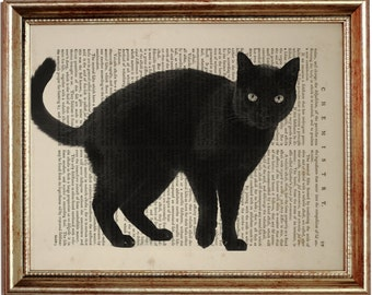 The Black Cat Print, Black Cat Art, Art Print on Vintage Dictionary Page, Upcycled Book 8 x 10 inches