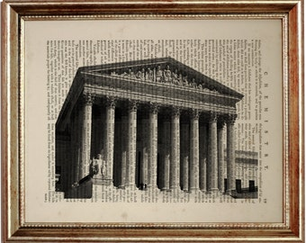 Supreme Court Print on Vintage Dictionary Page, Dictionary Page Book Art Print 8 x 10 inches