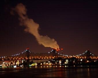 Brooklyn Bridge at Night Fine Art Photography Wall Photo Print, New York City Landscape Red Sky Suspension Night Bridge Sunset Sunrise