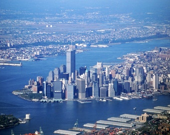 Aerial View of Manhattan Fine Art Photography Wall Photo Print, New York City NY Twin Towers Skyscraper Building Blue Water Island Cityscape
