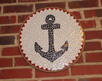Mosaic Wall Art - Anchor (Blue, Red and White)
