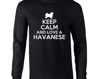 Keep Calm And Love A Havanese Mens Long Sleeve T-Shirt Funny Dog Keep Calm Tee