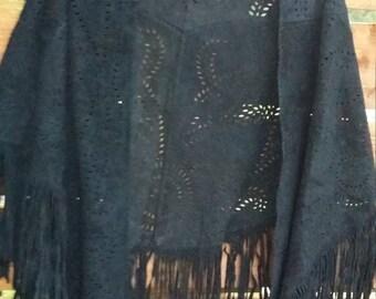 Black suede leather fringe shawl