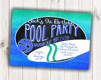 Boy's Pool Party Birthday Invitation - 5 X 7 or 4 X 6 Digital Printable File