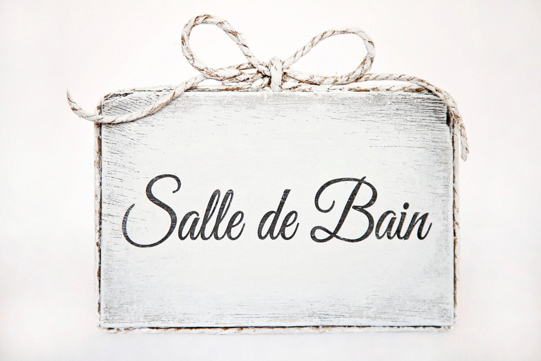 Cute Handmade Wooden Bathroom Door Sign Salle De Bain