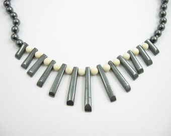 Hematite SPIKE & Cream Glass BEADS VINTAGE Necklace Choker Sterling Silver Clasp *