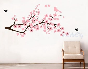 Items similar to cherry blossom wall decal sticker art for Cherry blossom wall mural stencil