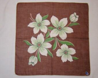 FANSHAW Tag Dogwood Hankie Handkerchief  Hankerchief Brown White Flowers Blossoms Cotton Vintage