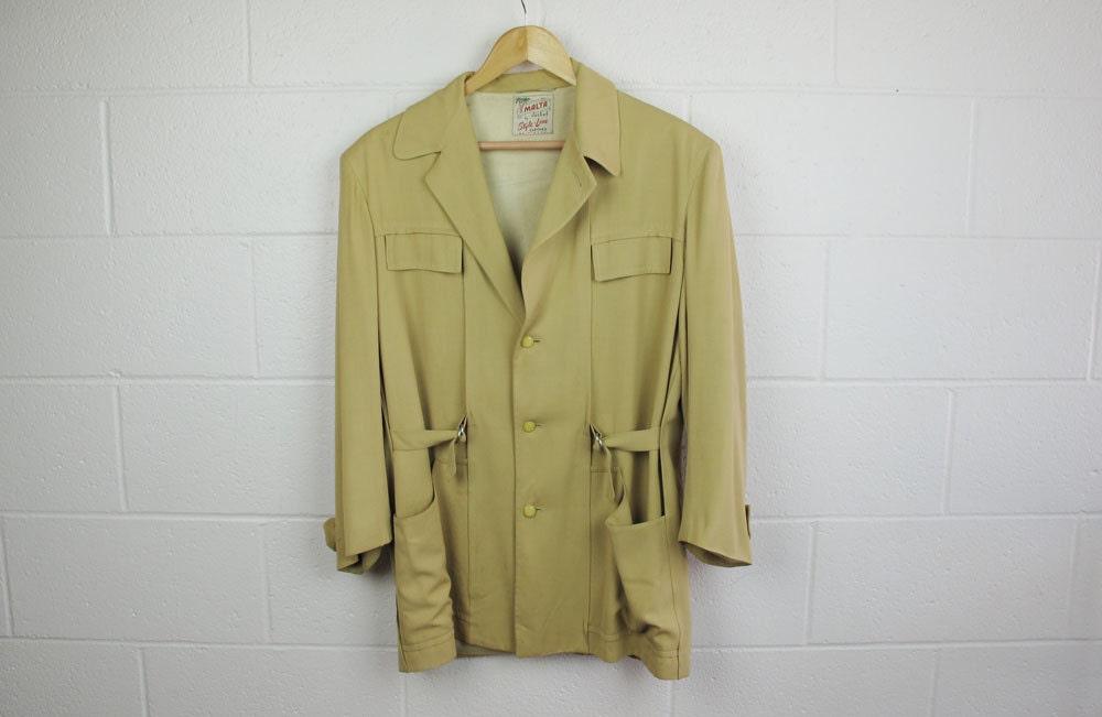 vintage safari jacket 40 s gabardine malta by thegallivant