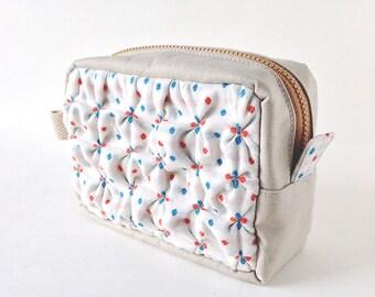 Smocking Zipper Pouch - Ploka-Dots Cotton & Pale-Sand-Color Canvas