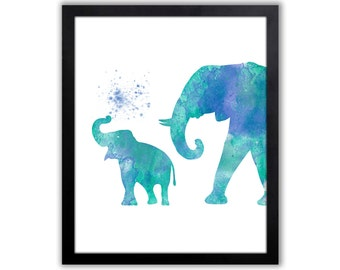 Watercolor Elephant Art Print, Animal Painting