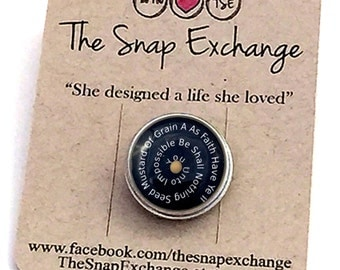 Mustard Seed Quote Snap pin, mustard seed quote, mustard seed chunk mustard seed snap Noosa Gingersnaps button bracelet snap bracelet
