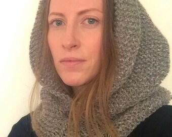 Knitted hood, handmade winter hood, gray winter hood, gift for women, knit hood cowl, hood scarf, mom gift