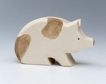 Wooden Pig - Carved Animals - Baby Gifts - Educational Toys - Eco Products -  Wooden Animal - Hand Carved Animals - Pig - Lucky Charm