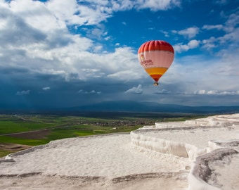 Hot Air Balloon Over Pamukkale, Turkey, fine art photography.