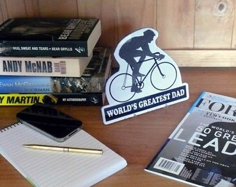 Father's Day Gift for the sporting Dad - cycling. Personalize your message and colour on this plaque for desk or wall.