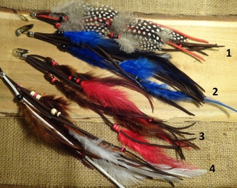 Feather extentension for hair. Inspired by native american. Barrette, extension cord , jewelery.