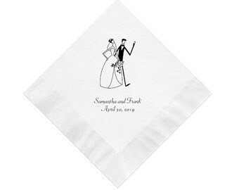 Bride and Groom Wedding Napkins Personalized Set of 100 Napkins