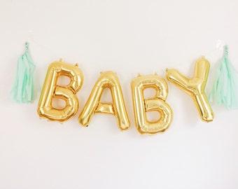 BABY balloons - gold mylar foil letter balloon banner kit