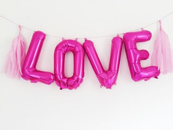 love letter balloons pink magenta foil mylar by ohshinypaperco With pink mylar letter balloons