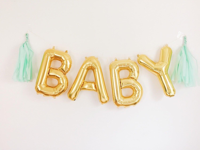 baby balloons gold mylar foil letter balloon banner kit zoom