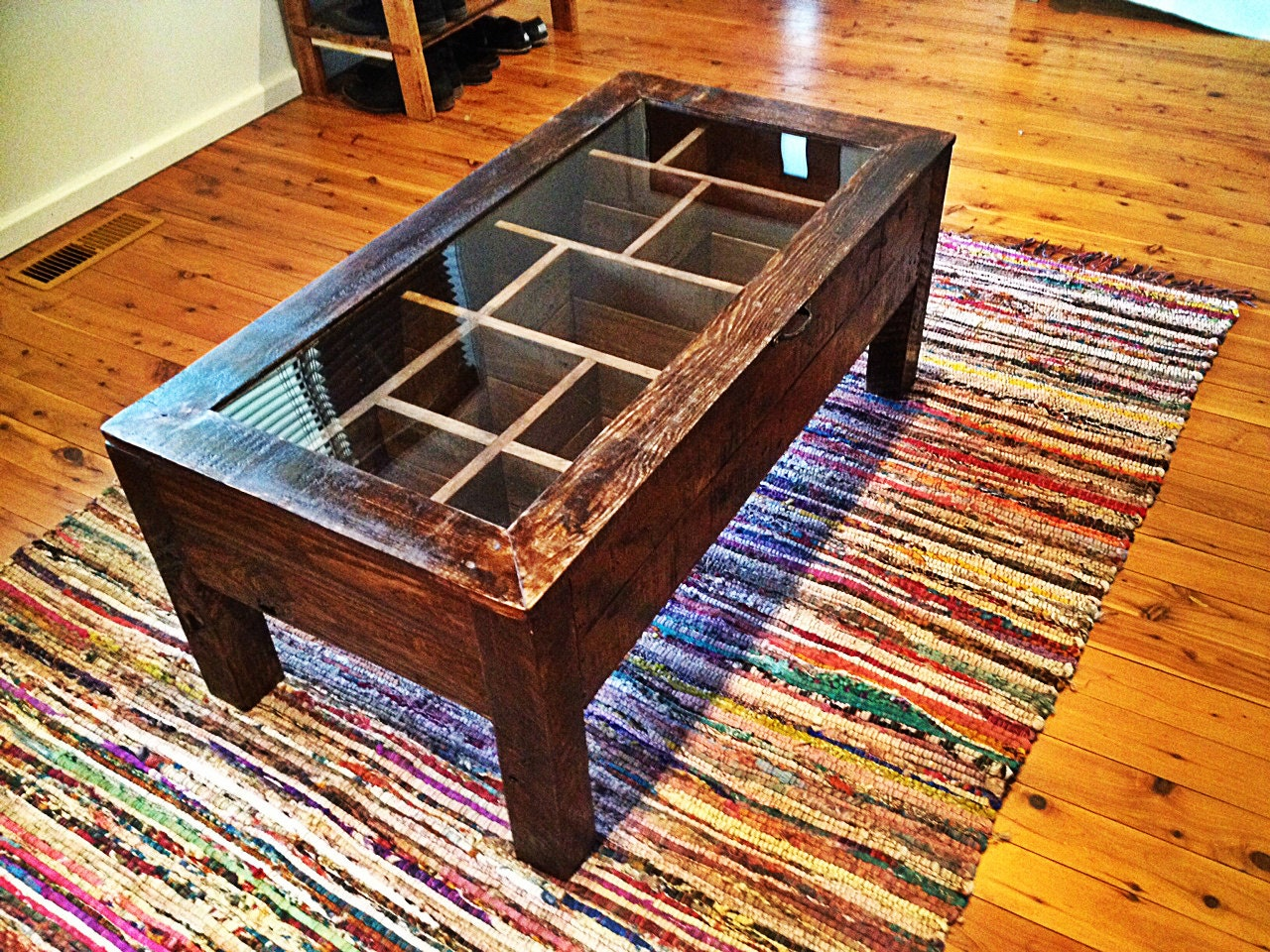 Recycled Timber Glass Framed Coffee Table With By Upcycledwoodoz