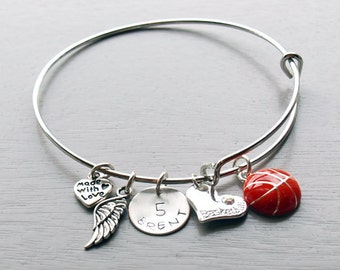 Basketball Personalized Hand Stamped Adjustable Wire Bangle Bracelet