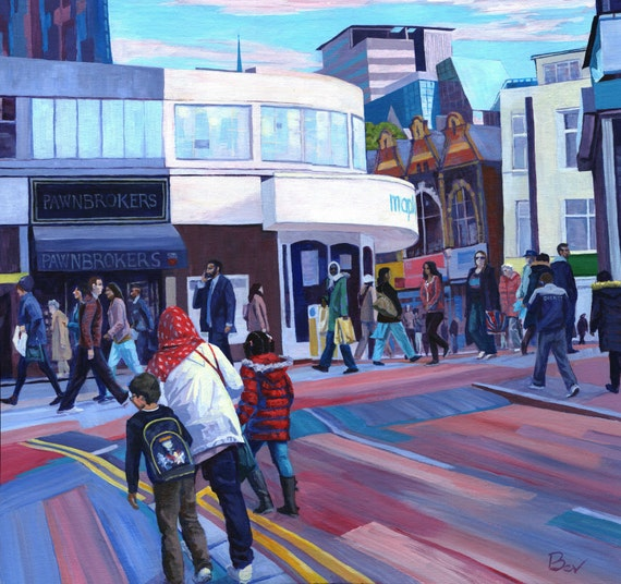 Climbing - an original cityscape painting in acrylic showing crowds in Croydon, South London