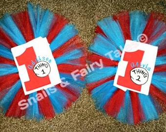 Thing 1 and Thing 2 Birthday Outfit Shirt Onesie Tutu Embroider Design