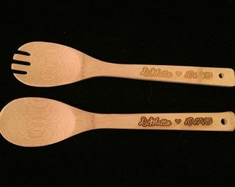 Wooden Fork & Spoon Pair