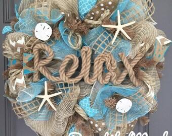 Relax Beach Burlap Deco Mesh Wreath with Seashells, Seashell Wreath, Sea Shell Wreath, Beach Wreath, Starfish Wreath