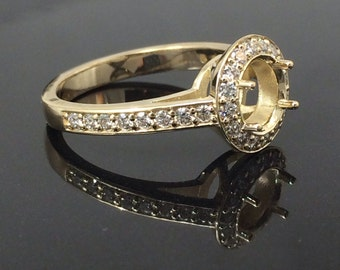 Round Diamond Halo Semi Mount Ring / Yellow Gold Halo Ring /