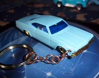 custom made 1965 chevy impala,keychain gloss sea foam blue w/gold tone grill and mags/repaint-mint