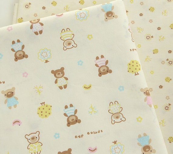 Cute baby cotton fabric cute small bears and trees cotton for Cute baby fabric