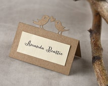 Custom listing (20) Birds Place Cards, Tented Place Cards, Name Card, eco recycled Place Cards, Twine Escort Card,