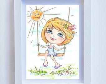 Art girl download, Children's Art, Kids decor, Nursery wall art, Children Giclee, Childrens Illustration, Girl art giclee. Girl and Summer