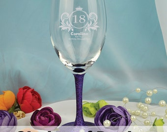 Birthday Laser Engraved Wine Glass Gift - Any Age