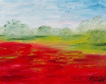 Poppy art Original landscape oil painting Poppy painting Landscape painting Small oil painting Poppy flower painting by Alina Jelvez 8x6""