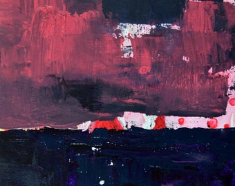 Pink & Black Acrylic Landscape Painting. Abstract Palette Knife Art. Black Clouds. Den Wall Decor. 10