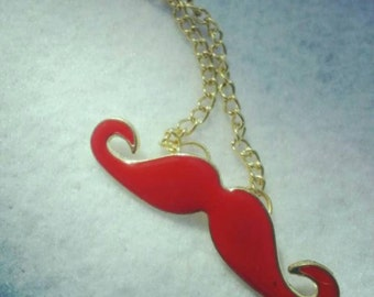 Colored Mustache Necklace Gold Chain