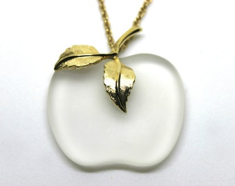 1970's Necklace Crystal Apple Pendant Avon 1978 Fashion Jewelry Gold Toned Stem and Leaf Long Chain Seventies Style Fruit Accessories