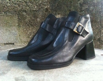 Vintage Shoes/ 90s/ Genuine leather/ Black/ number It 37/ Uk 4/ Us 6.5/ Made in Italy