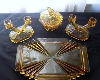 """Vintage Art Deco Amber """"Bedford"""" Glass Dressing Table Set, Amber Dressing Table Set , Boudoir Set, Glass Dressing table set,Glass Vanity Set"""
