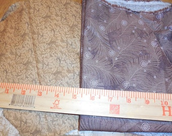 Destash-3 pieces of Quilter's Cotton in Brown and Tan Feather Prints
