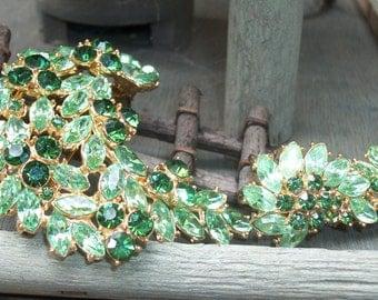 Sale! Vintage Trafari Crown Emerald Shade Rhinestone Brooch and Earrings