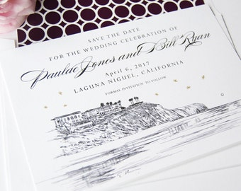 Laguna Beach Skyline Save the Date Cards- Starry Night Hand Drawn (set of 25 cards)