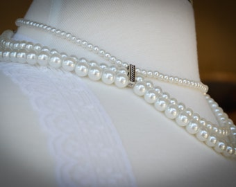 Three Strand Wave Pearl Necklace