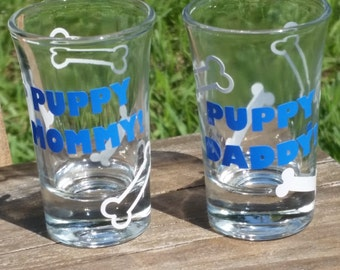 Dog lover - Pet lover gift - New puppy gift - Dog Mom - Dog Dad - Puppy Mommy - Puppy Daddy - Shot glass - Custom colors with white bones!
