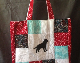 Quilted Tote Bag with Labrador Retriever Silhouette